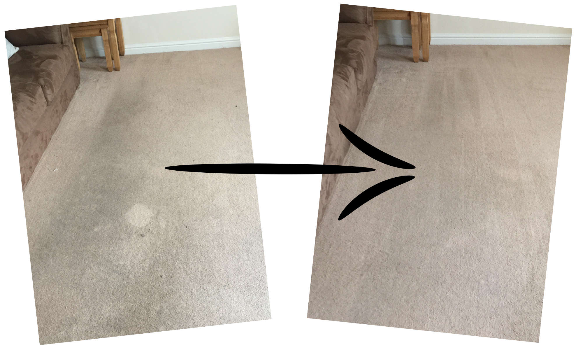 before and after living room carpet
